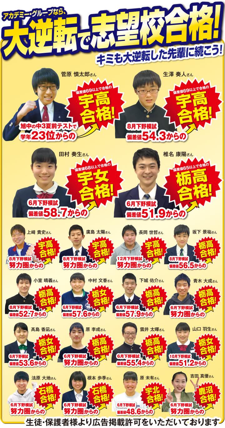 アカデミーグループから大逆転で志望校合格!
